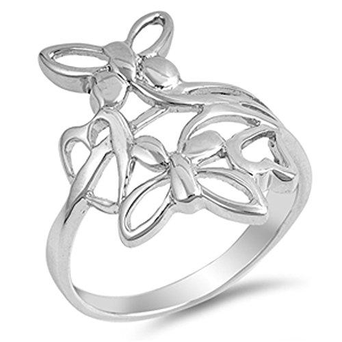 Filigree Butterfly Flower Heart Cute Ring .925 Sterling Silver Band Size 7 (Butterfly Filigree Ring)