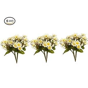 Garwarm 6PCS Artificial Flowers,Silk Daisy, Artificial Gerber Daisy, Artificial Plant for Home Decor,Office, Wedding,Garden,Patio Decoration 113