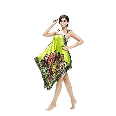 Desility Women Bohemia Style Nightgown Silk Like Sleepwear Sexy Sleep Dress