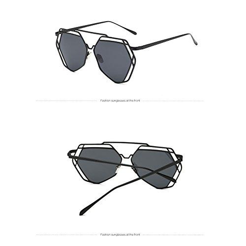 Sol UV400 Marco De Coloridas Silver Del Las Z De Metal Moda Poligonales De De amp;HA Mujeres Sol Gafas BlackGrey Huecas Piezas Gafas Ojo qTUUtR