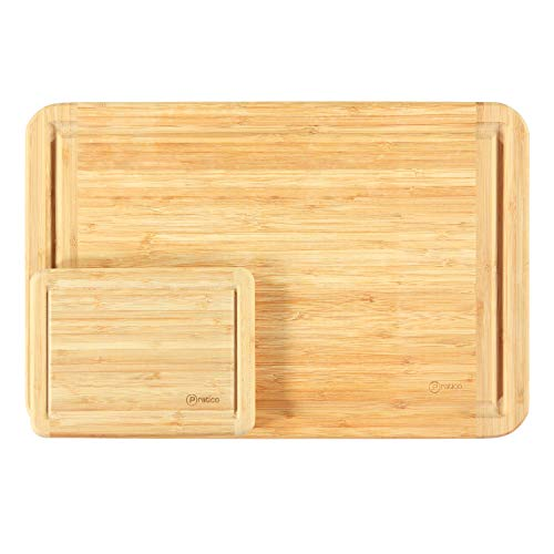 Bamboo Cutting Board and Serving Tray with Juice Groove Set - Large 18x12 & Small 8x6 - Made Using Premium Bamboo ()