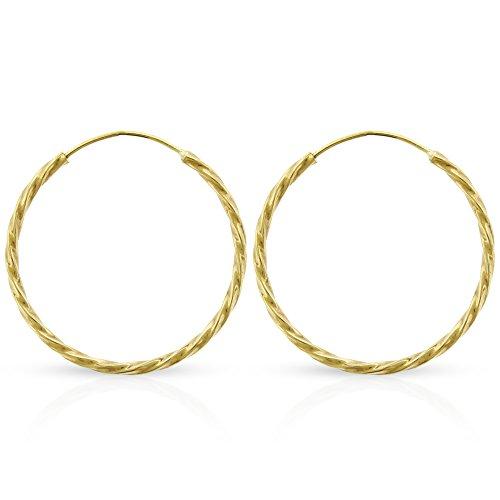 14k Yellow Gold Women's Endless Spiral Twist Tube Hoop Earrings 1.2mm Thick 14mm - 20mm (20mm)