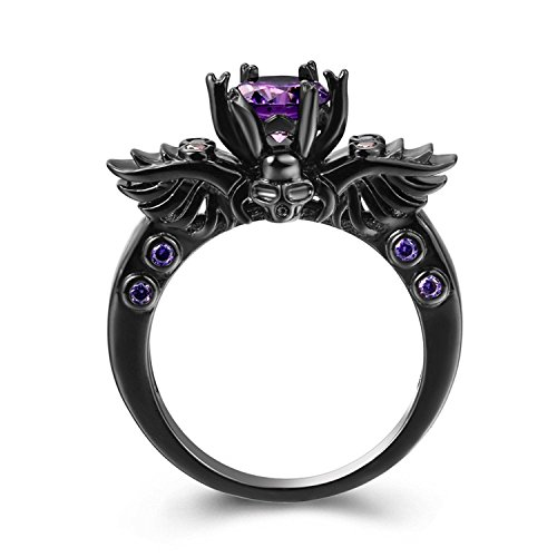 Gange Black Gun Gold Plated Round Cut Amethyst Purple CZ Cubic Zirconia Vintage Gothic Skull Ring (6) (Sapphire Women For Purple Ring)