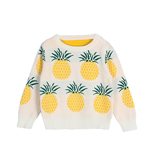Toddler Unisex Baby Crew Neck Long Sleeve Cotton Pineapple Print Knit Pullover Sweater Jumper (2-3 Years, White) ()