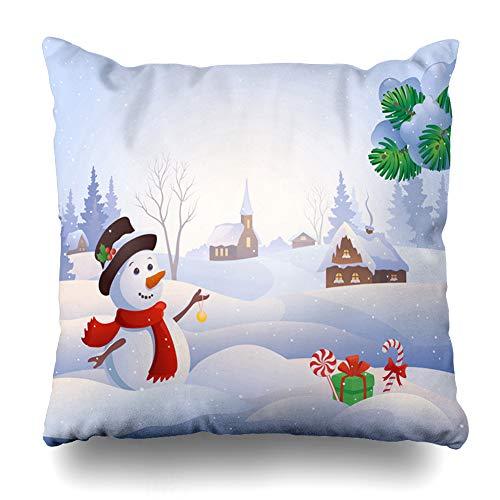Cover Graphic Blue Winter Cute Snowman at Snowy Village Snow Wonderland Scenery Christmas Design Home Decor Pillowcase Square Size 18
