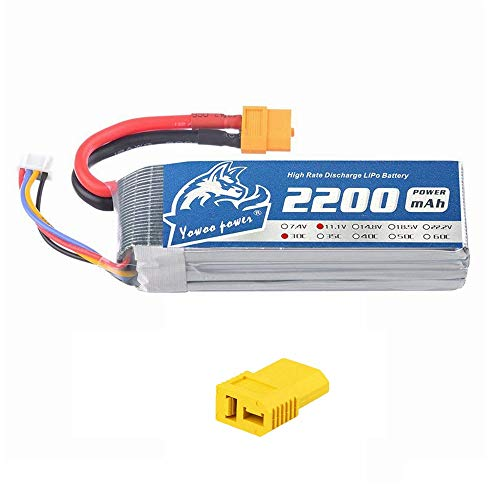 YOWOO 3S 11.1V 2200mAh 30C LiPo Battery Pack with XT60/Deans T Plug for RC Evader Helicopter RC Car Boat Truck RC Airplane Quadcopter(4.13x1.34x0.94inch 0.37lb)