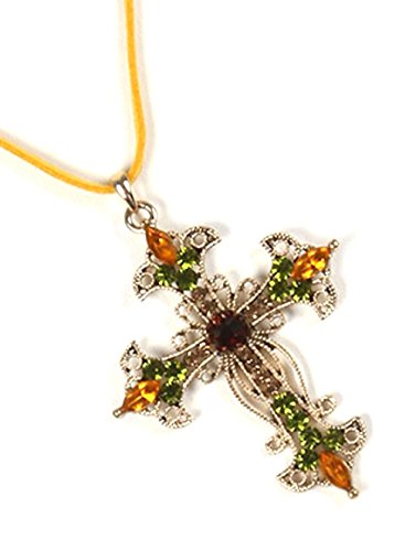Filigree Metal Cross Pendant Color Crystal Stone Cutout 16 Inch Long Faux Suede Strand Necklace ()