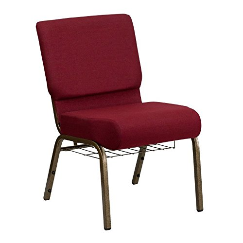 Flash Furniture Embroidered HERCULES Series 21'' Extra Wide Burgundy Church Chair with 4'' Thick Seat, Communion Cup Book Rack - Gold Vein - Wholesale Chairs Church