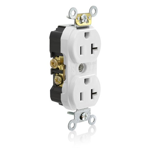 (Leviton TCR20-W Side Wired Commercial Spec Grade Tamper Resistant Duplex Receptacle, 20-Amp, 125-volt, White)