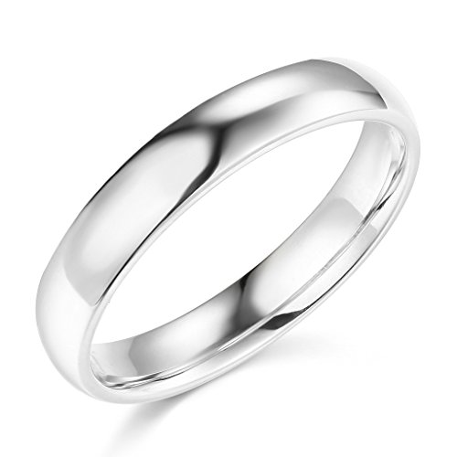 14k White Gold 4mm SOLID COMFORT FIT Plain Wedding Band - Size 6.5