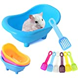MUMAX Hamster Bathtub, Plastic Bathroom Container with Bathing Sand Scoop Set for Small Pets Animal Chinchilla Golden…