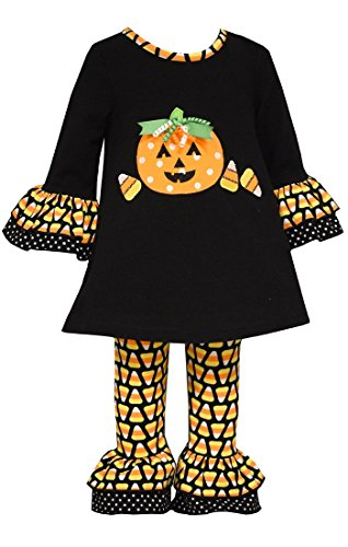 Bonnie Baby Girl Halloween Candy Corn Pumpkin Outfit (3-6 Months, Black) (First Halloween Outfit)