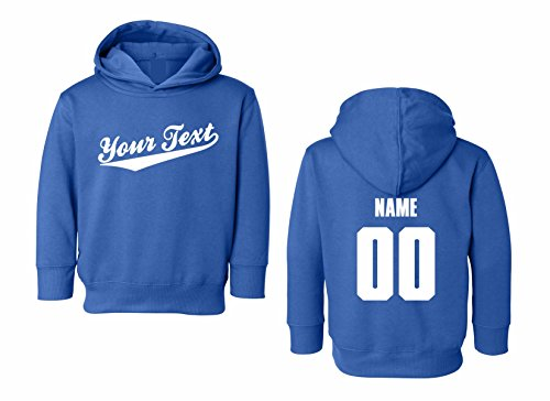 Toddler Custom Personalized Hooded Sweatshirt, Baseball Script, Back Name & Number