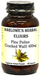 Pine Pollen Cracked Wall Powder - 60 400mg VegiCaps - Stearate Free, Bottled in Glass! FREE SHIPPING on orders over $49!