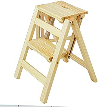 STOOL Escalera de escalera Inicio Taburetes de escalera, taburete plegable Escalera Asientos de silla de escalera Escalera de madera Escalera Madera de pino Ampliado Seguridad Estantería plegable Zap: Amazon.es: Bricolaje y herramientas