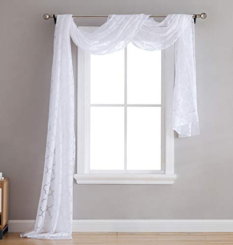 HLC.ME Lattice Sheer Voile Burnout Long Window Swag Scarf Valance - White - 54