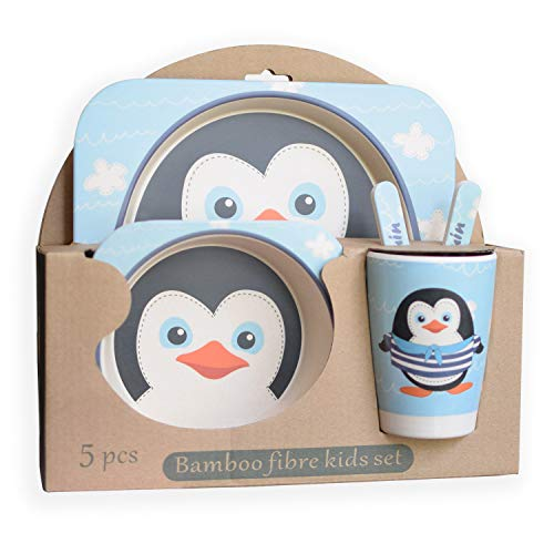 EXULTIMATE Kids Bamboo Dinnerware Plate Set of 5 (Blue - Penguin)
