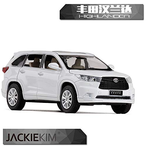 JACKIEKIM 1/32 Scale Sound&Light Car Toys Toyota Highlander SUV Diecast Metal Car Model Toy for Gift/Collection/Kids