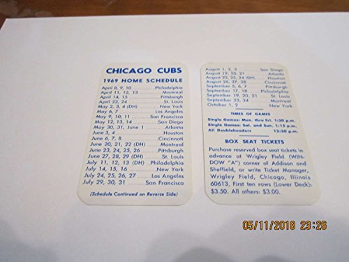 1969 Chicago Cubs Pocket Schedule