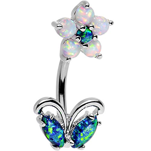 Body Candy Steel Clear Brilliant Blue Synthetic Opal Flourishing Flower Double Mount Belly Ring (Mount Rings Double Belly Button)