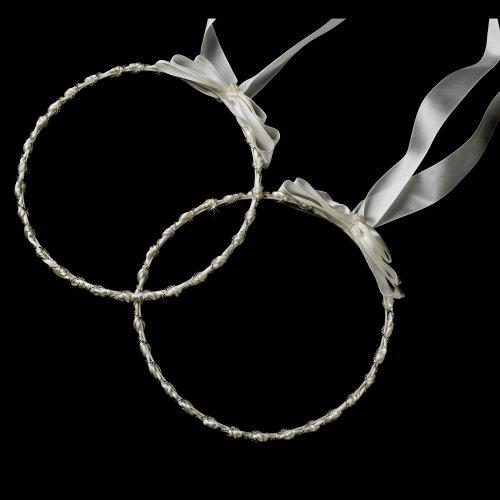 Adonia White Elegant Greek Stefana Wedding Crowns w/ Silver Beading Bridal Ribbon Headband (Orthodox Wedding Crowns)