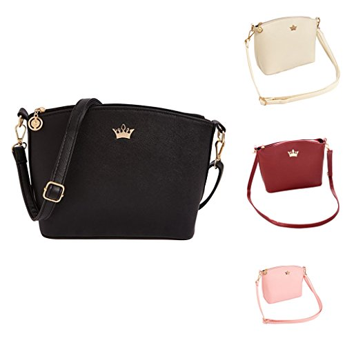 Leather Fashion Body Black Women size Bag Beige Medium Shoulder Messenger dragonaur Faux Cross Crown 4Tnt1qqWf