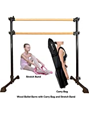 Marfula Wood Ballet Barre Portable Height Adjustable Portable Double Freestanding Ballet Fitness Stretch/Dance Bar for Home or Studio Dancing, with Carry Bag with Carry Bag and Stretch Band