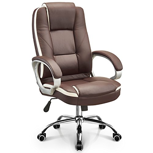 NEO CHAIR Executive Office Chair High Back PU Leather Desk Computer Task Home Chair : Spring Seat Headrest Swivel Adjustable Recline Ergonomic Shoulder and Lumbar Support, (Rhine River Brown)