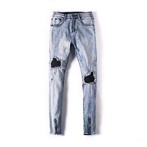 La Dril Largos Del Pantalones Vendimia Algodón Blau Cierre Vaqueros Cómodo Los Destruidos Mezclilla De Con Hombres Delgados Battercake Ajustados n6vOX1v
