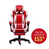 Romatlink Video Gaming Chair Racing Office-PU Leather High Back Ergonomic 155 Degree Adjustable Swivel Executive Computer Desk Task Large Size with Footrest,Headrest and Lumbar Support, Red/White