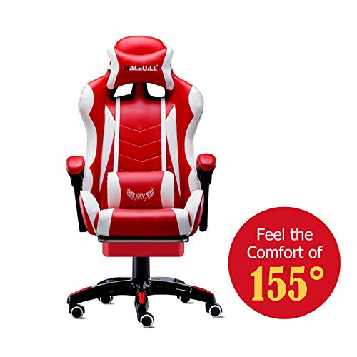 MOOSENG Video Gaming Chair Racing Office-PU Leather High Back Ergonomic 155 Degree Adjustable Swivel Executive Computer Desk Task Large Size with Footrest,Headrest and Lumbar Support (Red, Red/White01