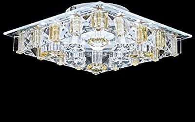 Diamond Life Modern LED Crystal Chandelier Flush Mount Ceiling Lighting Fixture, 3 light colors in one Smart Lamp, #676