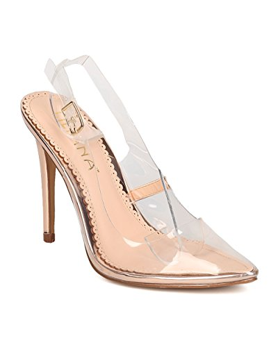 Women Pointy Lucite Slingback Pump - Dressy, Costume, Dancer - Transparent Stiletto Heel - GD31 By Liliana - Rose Gold (Size:
