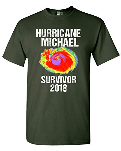 Beach Open Hurricane Michael Survivor 2018 Storm Support DT Adult T-Shirt Tee (XXXX Large, Forest Green)