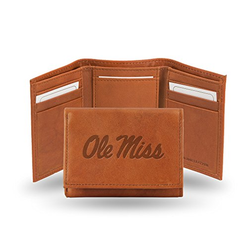 Mississippi Rebels Tri Fold - Rico Industries NCAA Mississippi Ole Miss Rebels Embossed Leather Trifold Wallet, Tan