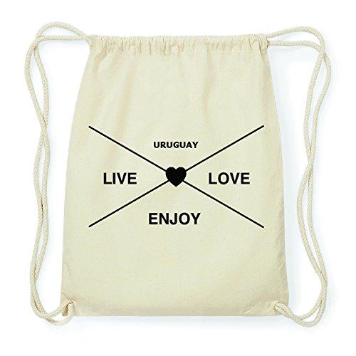 JOllify URUGUAY Hipster Turnbeutel Tasche Rucksack aus Baumwolle - Farbe: natur Design: Hipster Kreuz