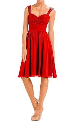 Kleider Mini La mia Herzausschnitt Kurzes mit Braut Dunkel Abendkleider Cocktailkleider Jugendweihe Spitze Knielang Festlichkleider Rot qvXxrvdf
