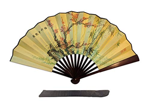 C&K Solutions Folding Hand Fan Chinese Gifts Plum Blooming and Bamboo Large Premium Quality Handheld Japanese Fans