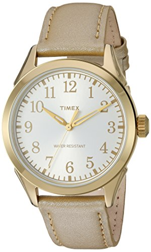 Timex Women's TW2P99300 Briarwood Terrace Light Gold Leather Strap Watch