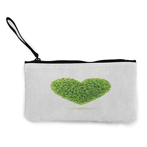 Cute coin purse Green,Heart Symbol with Fresh Leafage Foliage Health Growth Ecology Environment Theme, Fern Green White W8.5