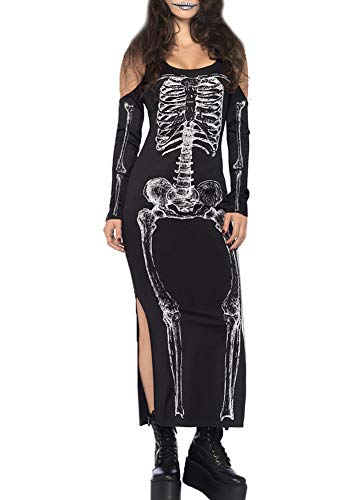 For G and PL Halloween Womens Party Skeleton Costume X-Ray Bodycon Cold Shoulder Maxi Dress Bone Black XL ()