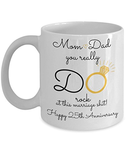 25th Wedding Anniversary Gift For Parents - Mom And Dad - Best Happy 25 Th Yr Twenty-Fifth Twenty-Five Year Unique Fun Ideas From Kids Son Daughter Co