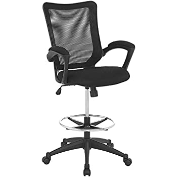 Amazon Com Modway Charge Drafting Chair In Black