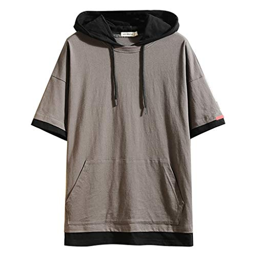 Men's Short Sleeve Hoodie Fitness Bodybuilding Workout Hooded Tank Tops