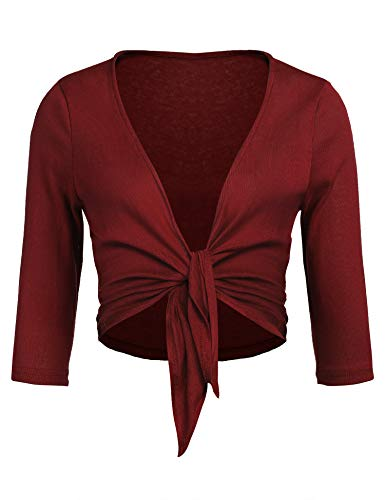 Concep Women's Tie Front Shrug Cropped Bolero Long Sleeve Open Cardigans Plus Size S-XXL Wine Red