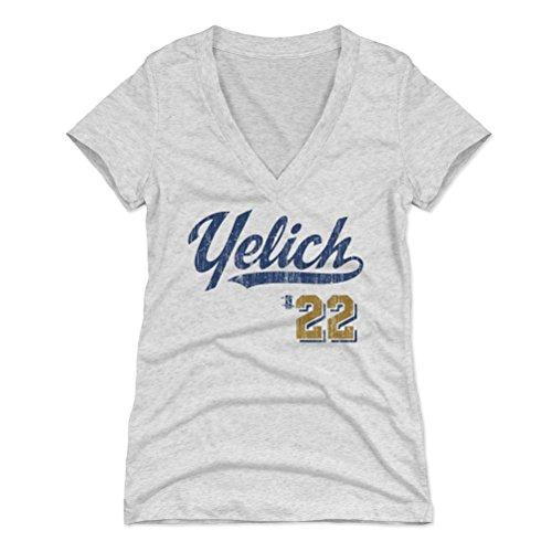 500 LEVEL Christian Yelich Women's V-Neck Shirt X-Large Tri Ash - Milwaukee Baseball Women's Apparel - Christian Yelich Script B (Baseball White Milwaukee Brewers)
