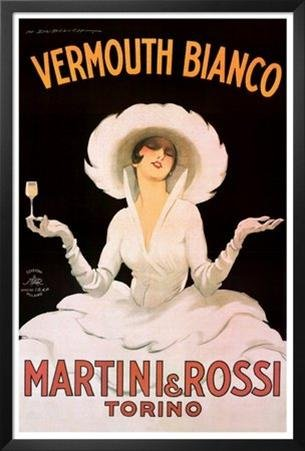 Buyartforless IF PA VP481A 36x24 1.25 Black Framed Vermouth Bianco Martini & Rossi by Marcello Dudovich 36X24 Art Print Poster ()