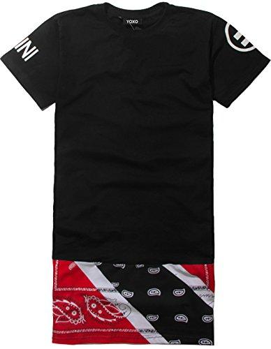 YOXO Men's Hip Hop Bandana Paisley Print Short Sleeve Long T shirts (S, Style 1)