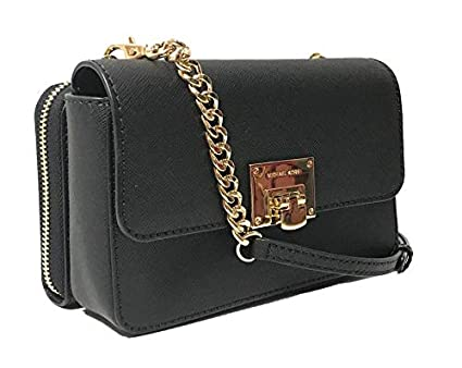 a162b9aa38c2 Amazon.com: Michael Kors Tina Black Chained Wallet Clutch Crossbody Bag  Cross Body: Clothing