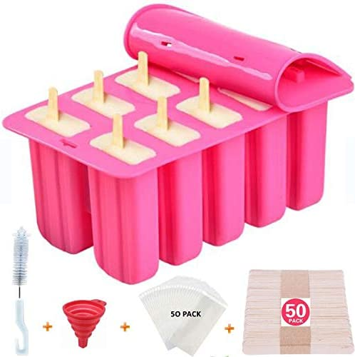 Popsicle Molds Shape Maker,10pcs Homemade ICE Pop Molds Food Grade Silicone BPA-Free Popsicle Moulds with 50 Popsicle Sticks 50 Popsicle Bags Silicone Funnel,Cleaning Brush(Pink)